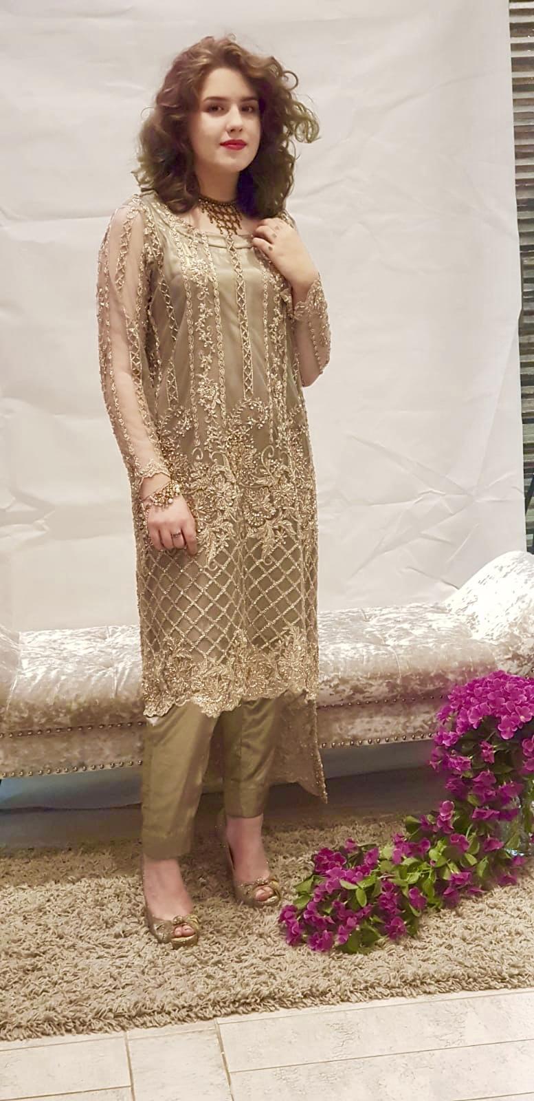 b8f76defee Smokey Green Dress - Sarah Zaaraz London Fashion Designer   Pakistani Dress  Designer   Bridal Dresses