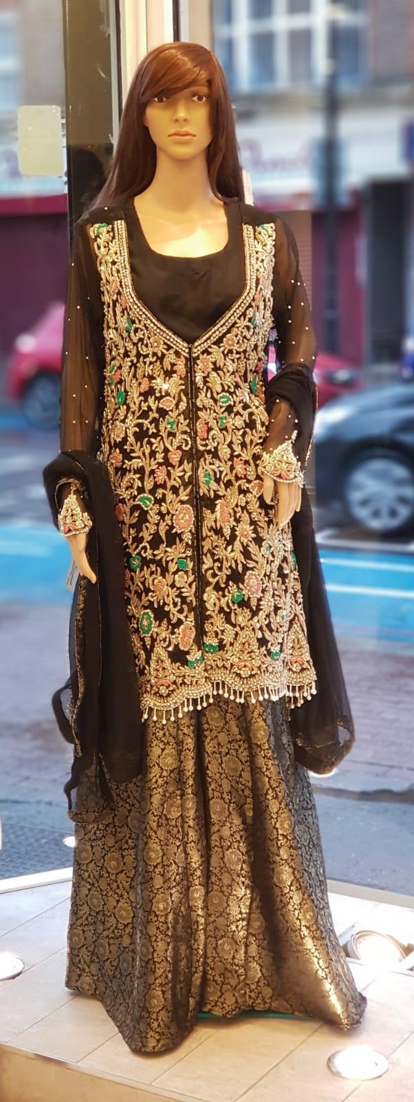 b7cf149079 Black Jacket Sharara Dress - Sarah Zaaraz London Fashion Designer    Pakistani Dress Designer   Bridal Dresses