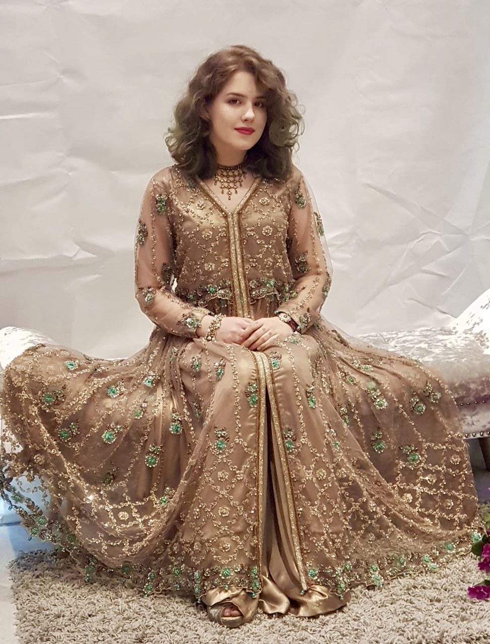ec07523c6e Desert Tan Long Dress - Sarah Zaaraz London Fashion Designer   Pakistani Dress  Designer   Bridal Dresses