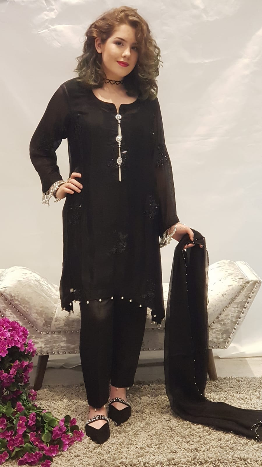 Black A Line Dress Sarah Zaaraz London Fashion Designer Pakistani Dress Designer Bridal Dresses