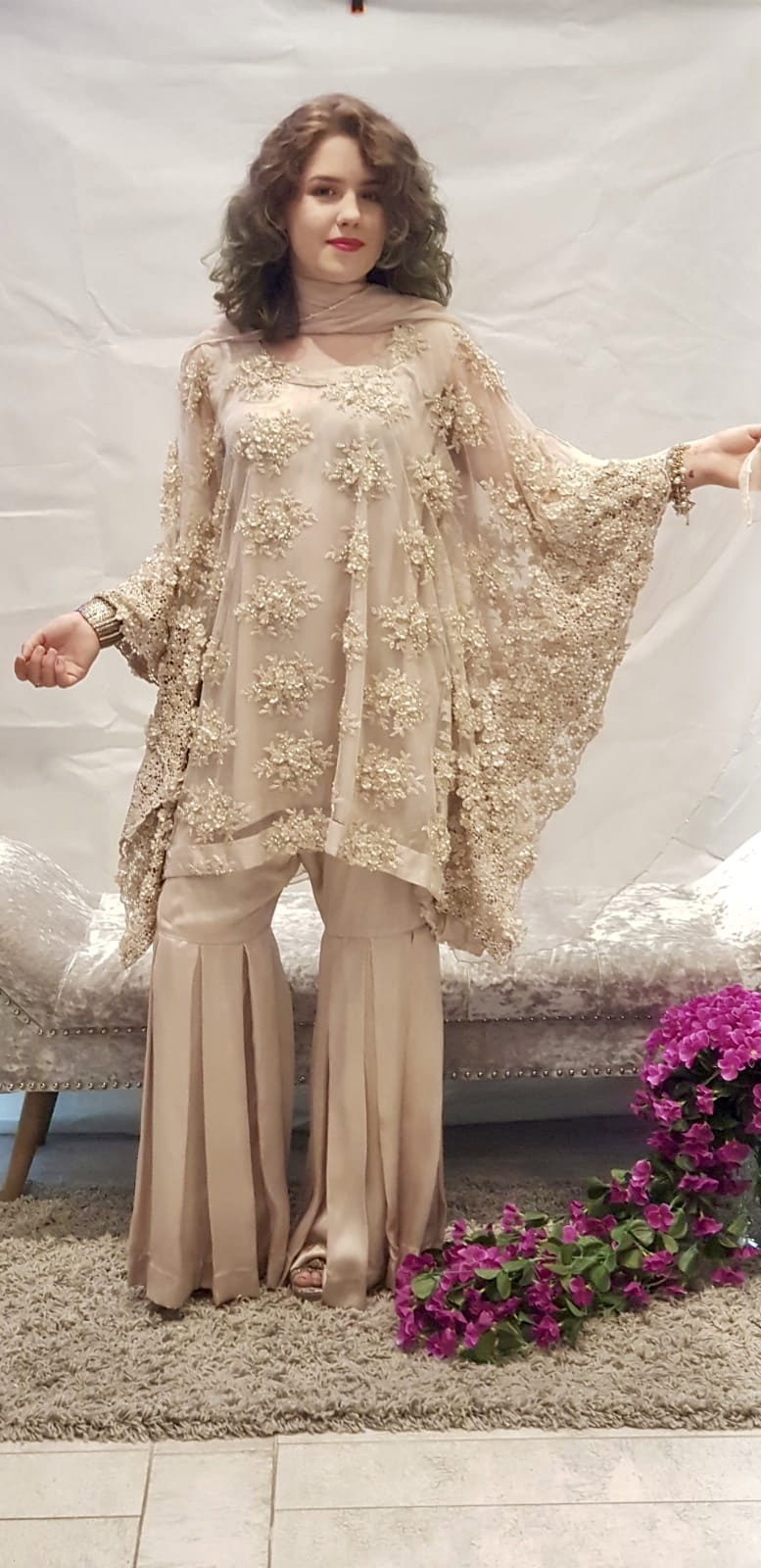 Cream Poncho Dress