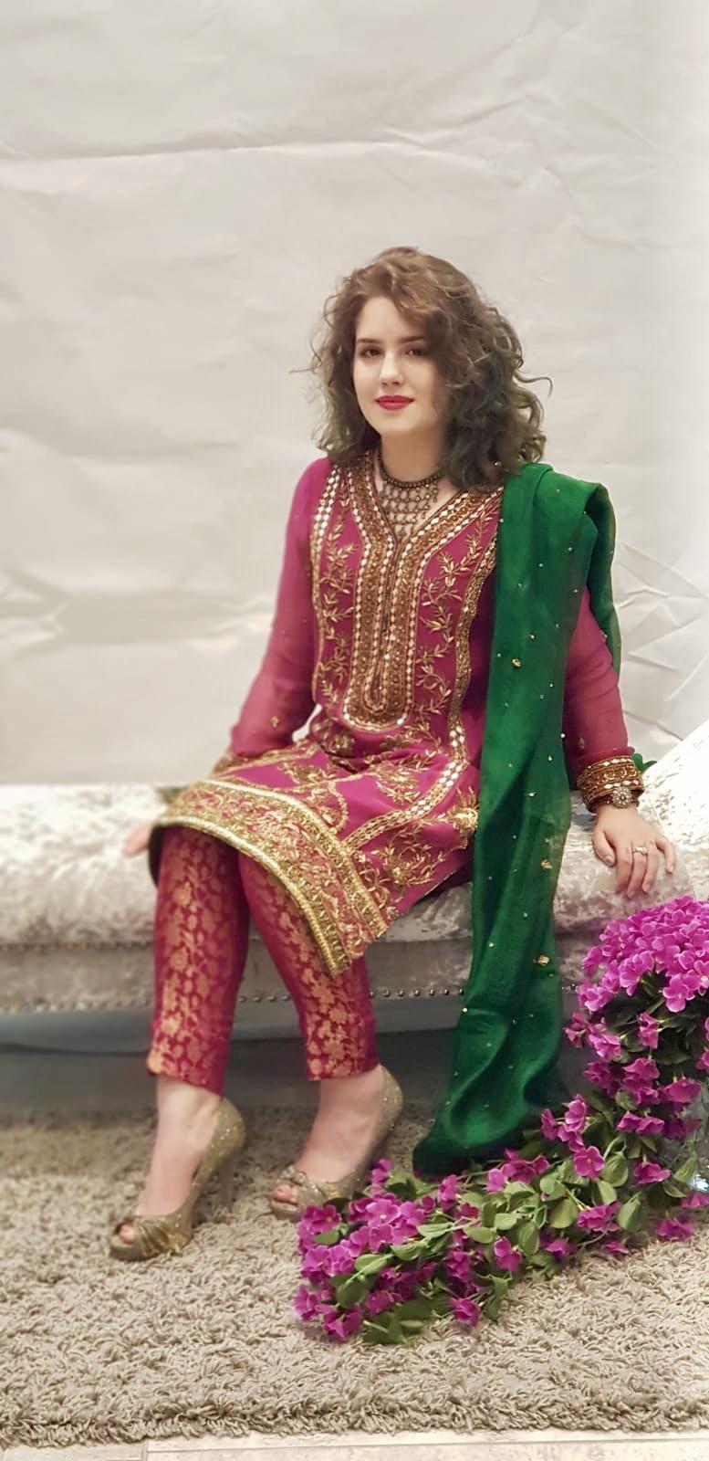 da483bd297 Magenta&Green Dress - Sarah Zaaraz London Fashion Designer   Pakistani Dress  Designer   Bridal Dresses