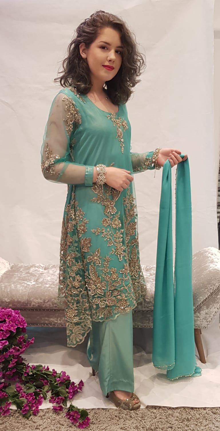 0acfb183a8 Green A-line Dress - Sarah Zaaraz London Fashion Designer   Pakistani Dress  Designer   Bridal Dresses
