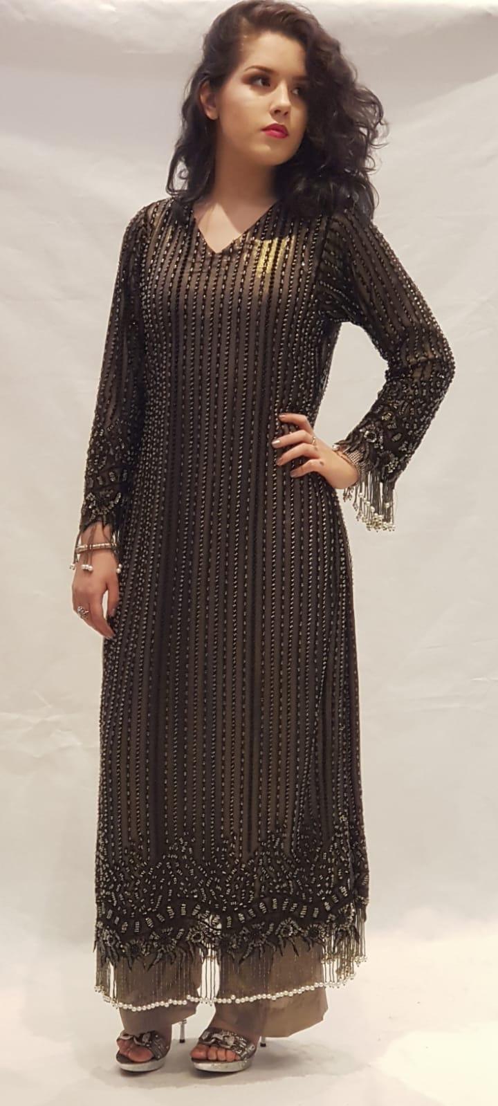 26ac724cef Black & Grey Dress - Sarah Zaaraz London Fashion Designer   Pakistani Dress  Designer   Bridal Dresses