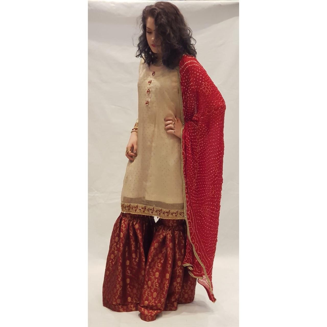 89b7dcb8e5 Red & Beige Dress - Sarah Zaaraz London Fashion Designer   Pakistani Dress  Designer   Bridal Dresses