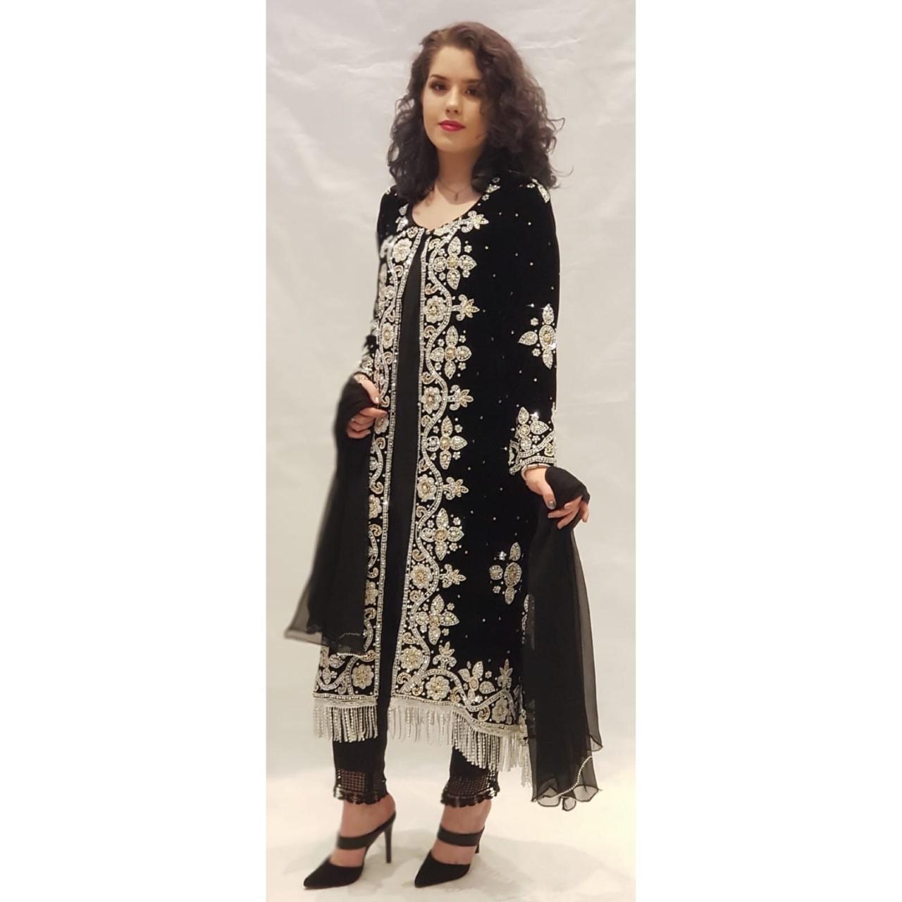 068f476f8f Black Velvet Jacket Dress - Sarah Zaaraz London Fashion Designer    Pakistani Dress Designer   Bridal Dresses