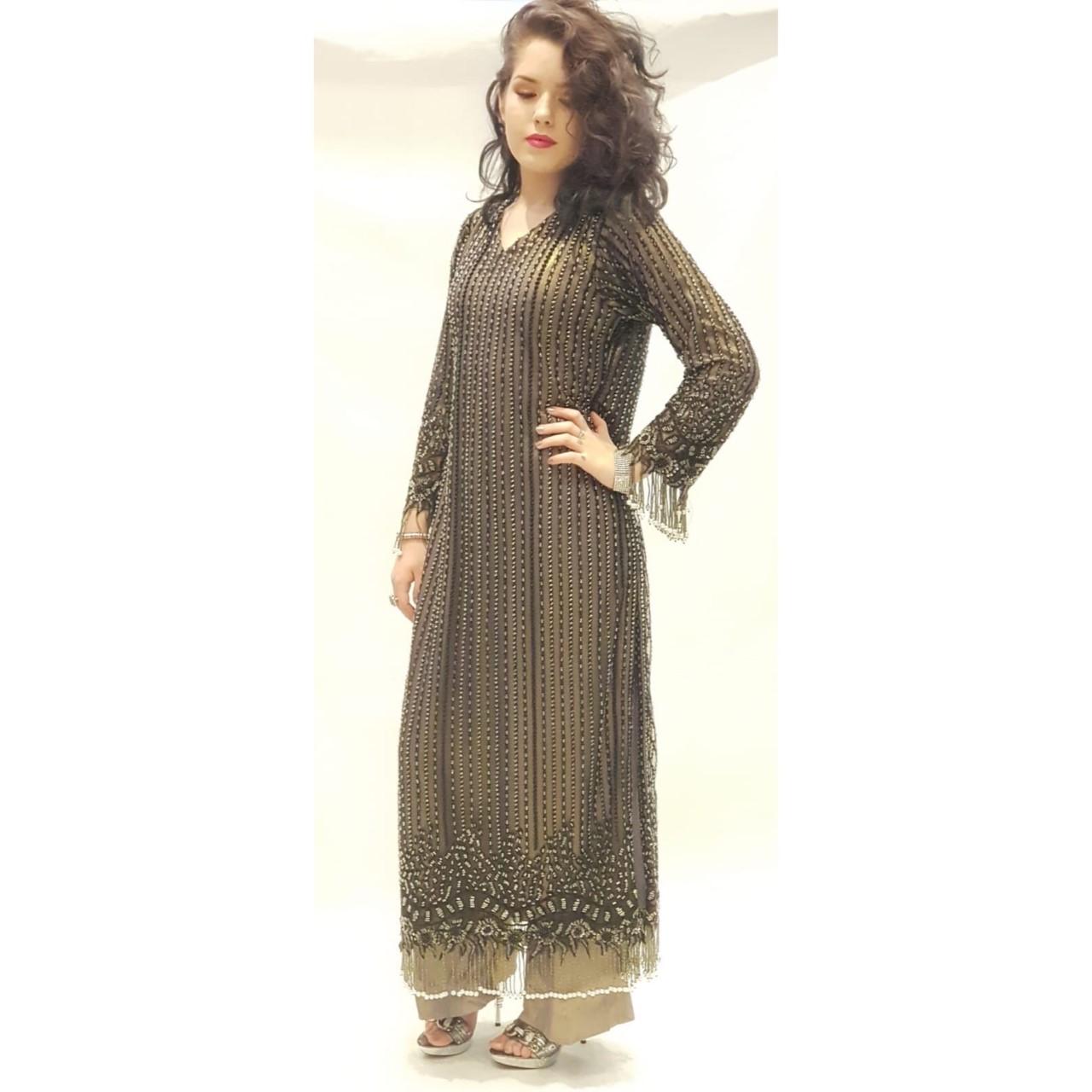 aac9c044e1 Black & Grey Dress - Sarah Zaaraz London Fashion Designer ...